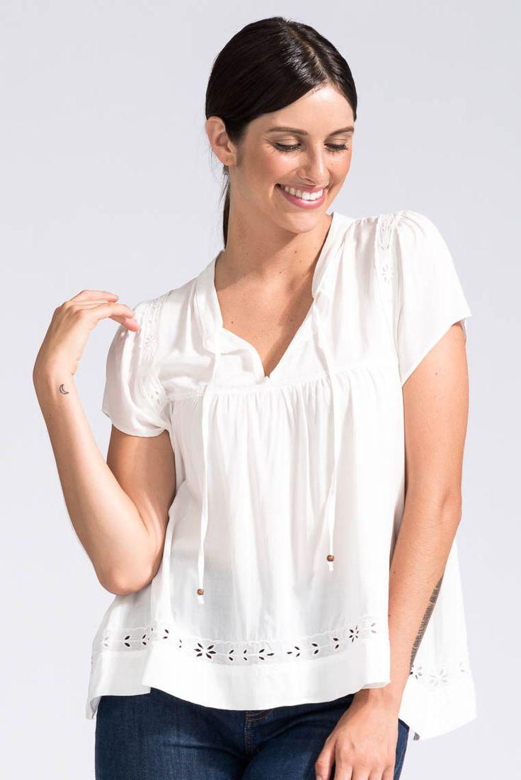 Bohemian Traders - Embellished Boho Top In White