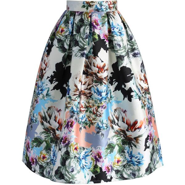 Chicwish Floral Explosion Printed Midi Skirt ($42) via Polyvore featuring skirts, blue, floral knee length skirt, floral print midi skirt, box pleat midi skirt, flower print skirt and blue skirt