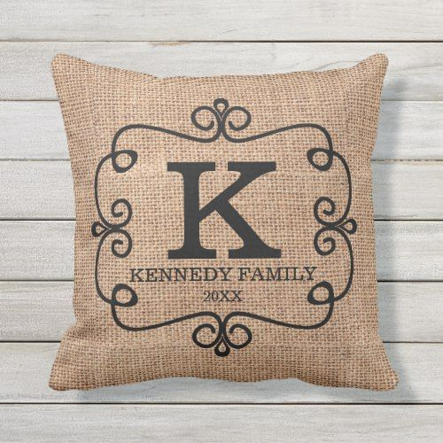 Rustic Burlap Family Name Monogrammed Throw Pillow Zazzle Com