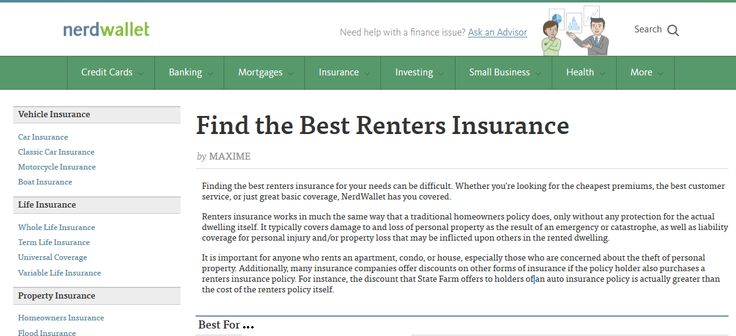 NerdWallet: Compare cheap renters insurance providers online