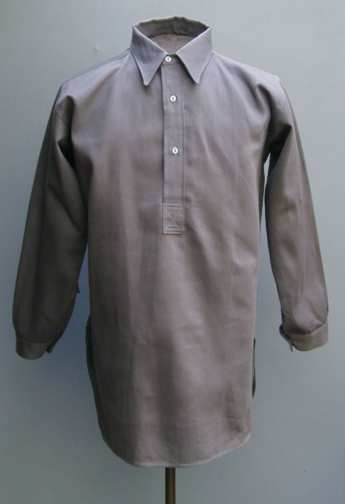 Vtg NOS 1940s 1950s Pullover Work Shirt Grey Sanforized Cotton ...