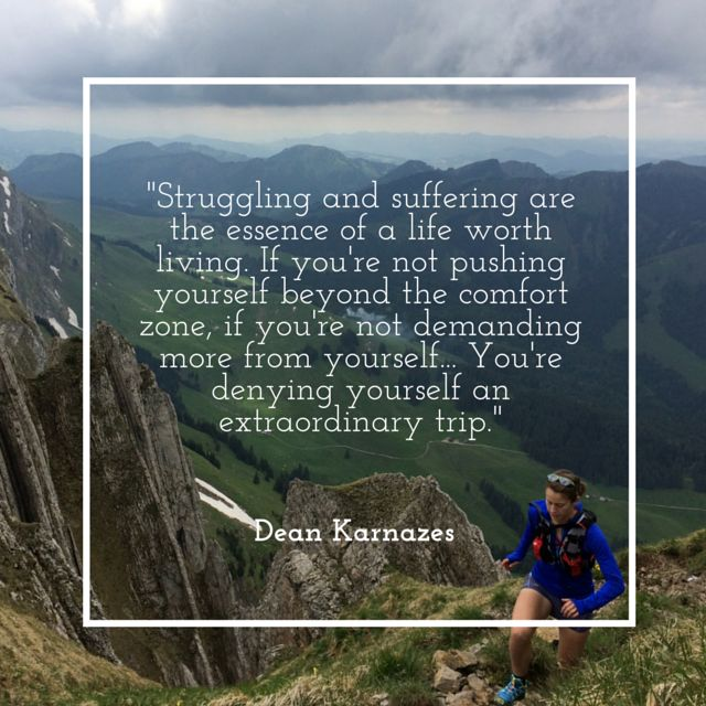 """Struggling and suffering are the essence of a life worth living. If you're not pushing yourself beyond the comfort zone, if you're not demanding more from yourself... You're denying yourself an extraordinary trip."" - Dean Karnazes #runchat #RunningWarehouse #motivation"