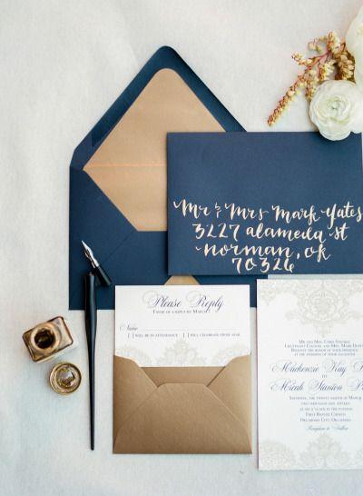 Gold and navy make a beautiful combo: http://www.stylemepretty.com/oklahoma-weddings/oklahoma-city/2015/05/28/traditional-oklahoma-city-navy-and-gold-wedding/ | Photography: Amanda Watson - http://amandawatsonphoto.com/