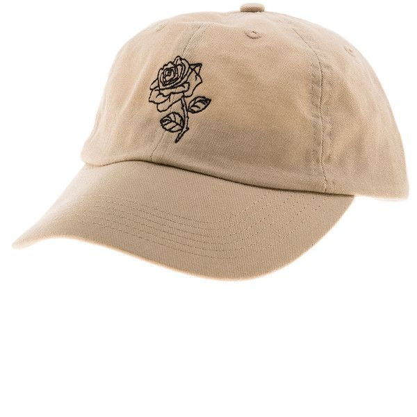 Daily Doses The Rose Strapback Hat in Khaki featuring polyvore, men's fashion, men's accessories, men's hats, hats and khaki