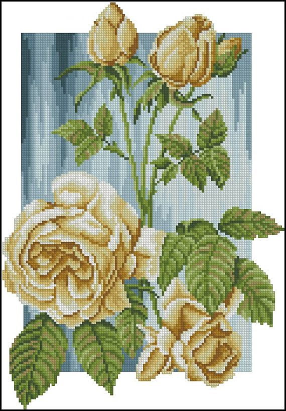 Roses. Cross Stitch Pattern PDF Instant Download