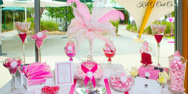 Pink and White Candy Buffet by K & G Cart Co