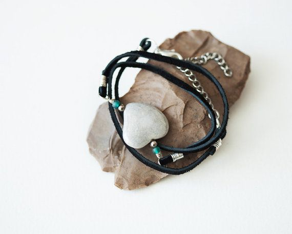 Triple Wrap Suede Bracelet Heart Porcelain by Wildbeautyjewelry