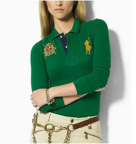 2015 spring auturn big horse Cotton Womens brand Embroidery long Sleeve  solid polo ralph shirt camisa masculina Plus size