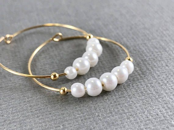 Gold pearl hoops Pearl hoop earrings White crystal pearl
