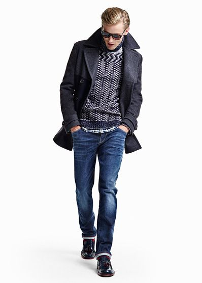 Tommy Hilfiger Tommy pea coat, Sidney sweater, Benoit check shirt, Hudson straight fit jeans,