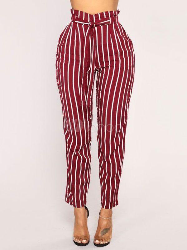 56ebb9b745e800 Paper Bag Pants Women Striped High Waist Cropped Trousers #Pants, #Women, # Paper