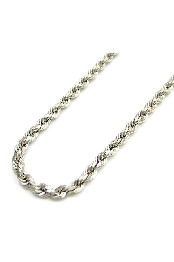 """Real 10k White Gold Mens Womens 3mm Diamond Cut Rope Chain Pendant Necklace 22/"""""""