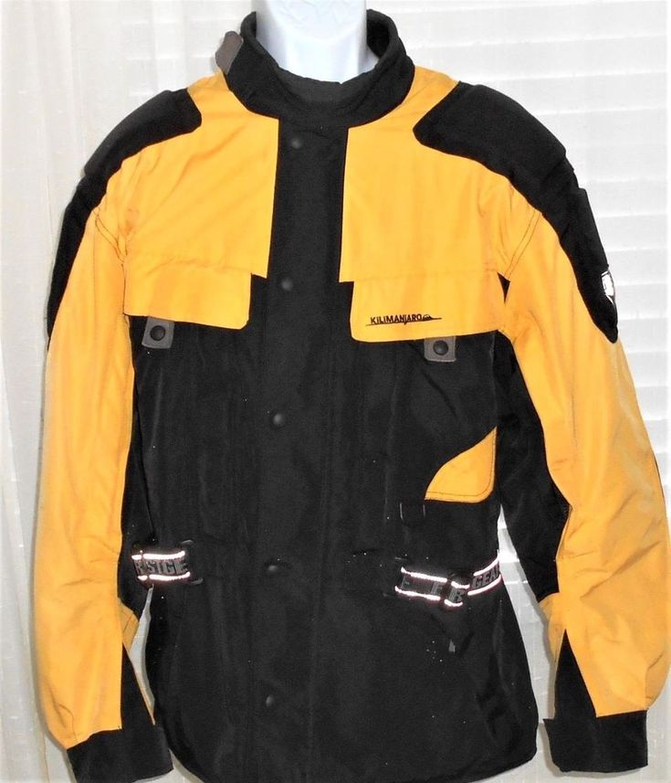 First Gear Kilimanjaro Motorcycle Riding Jacket Mesh Lined Black & Yellow Large #FirstGear