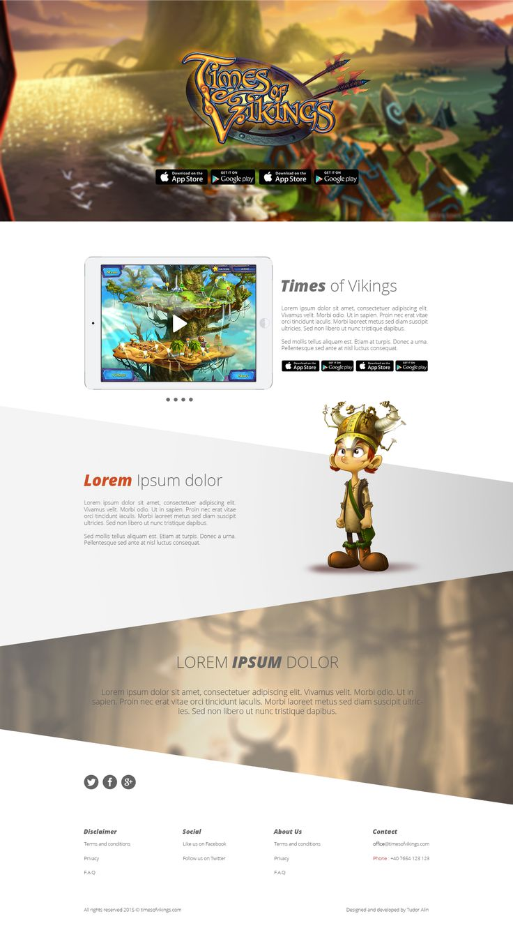 Presentation Website page for online game : Times Of Vikings