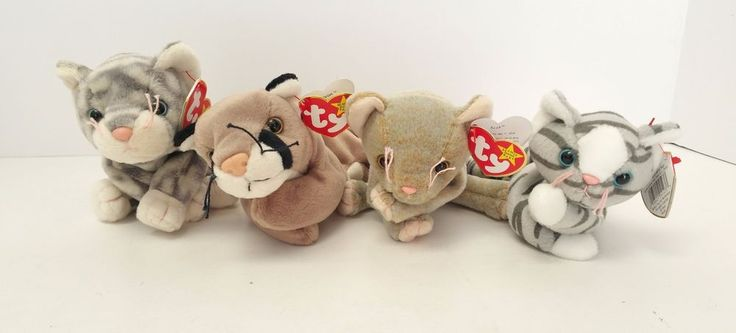 TY Original Beanie Babies Silver Canyon Prance Scat Cats Set of 4  #Ty #Beanie