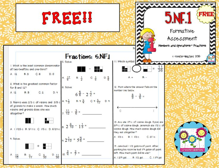 FREE! 5.NF.1 Formative Assessment and answer key. A free ...