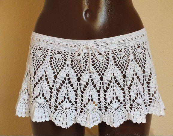 Белая короткая юбка крючком. Юбка для пляжа крючком  