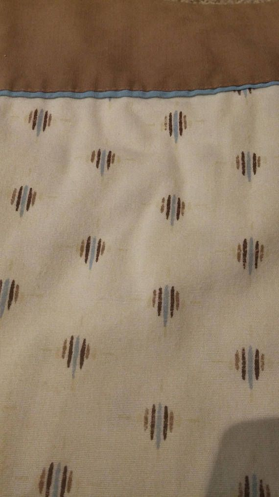 Vintage 1970s Boys/Teen Flannel Twin Flat Sheet Beige with Light Blue/Brown Design Brown Edging Retro Bedroom Decor EATONS Made in Canada