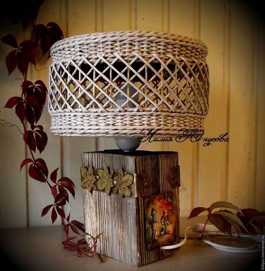 Освещение ручной работы. Ярмарка Мастеров - ручная работа. Купить Настольная лампа в экостиле. Handmade. Комбинированный, состаренный стиль, фурнитура