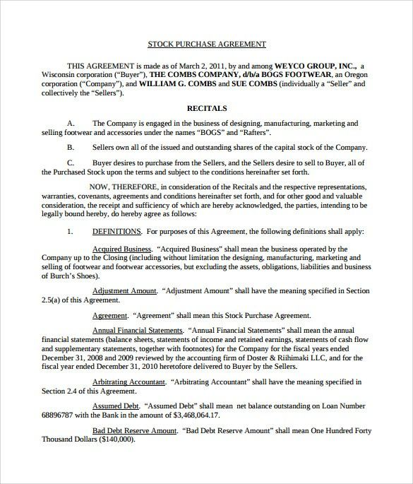 Word Template Purchase Agreement How Word Template Purchase