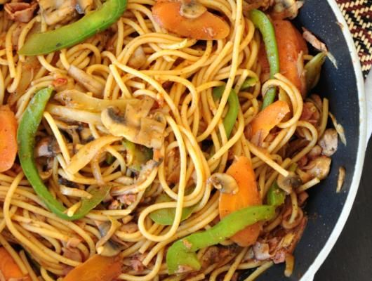 Mom's Stir Fried Spaghetti | Wonder how to make spaghetti exotic? Here is a tasty stir-fried spaghetti recipe that's touched by an Asian hand. It's simple and different in a good way!