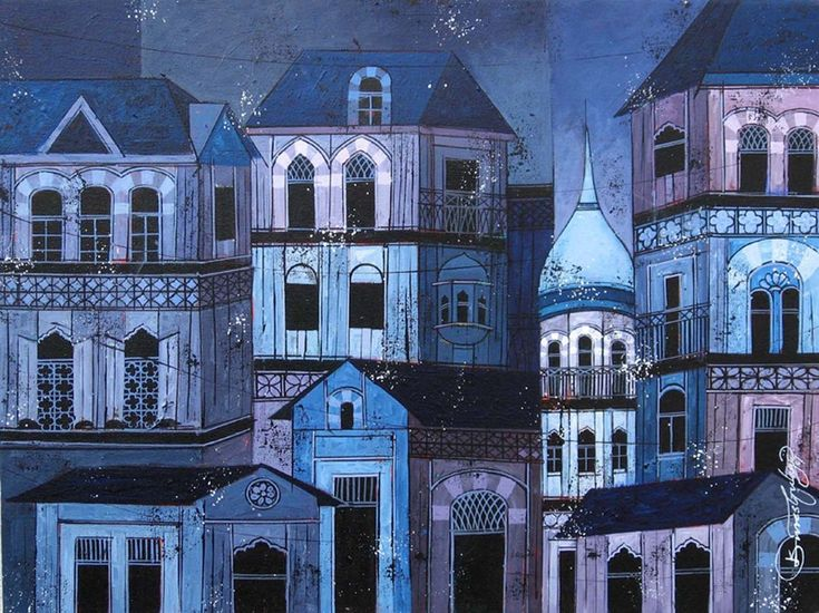 Blue - 131 Print by Suresh Gulage. The artist has captured the essence of the sky scraping houses of a city.