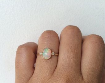 Opal Ring Opal Engagement Ring 14k Opal Ring • I would totally love this as an engagement ring.
