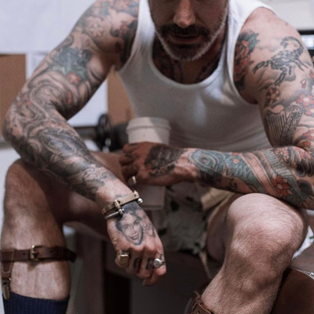 Looking for a swag accessory? How about our badass sock suspenders? Classic old school look I wear mine with shorts or just like this in my boxers and tank.... #fashion #style #madeinusa #accessories #suspenders #mensfashion #menstyle #mensfashion #tattoo #ink #inked