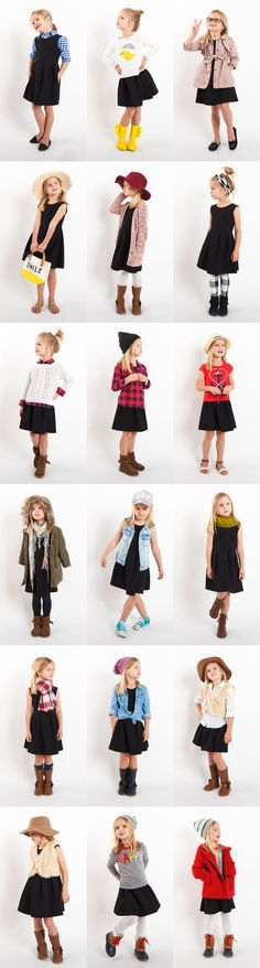 """Preschooler """"Little Black Dress"""" Style Project! 18 Outfits with ONE little black dress from Old Navy!"""