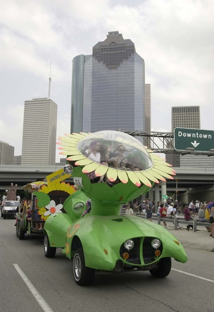 Art Car Parade - downtown Houston in background.