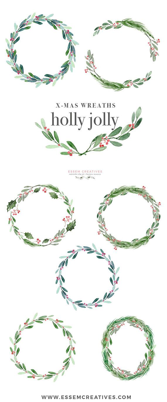 Christmas Wreath Clipart, Holly Jolly Clip Art, Watercolor Winter Clipart, Mistletoe Clipart, Holiday Card Clipart, Festive Digital Graphics