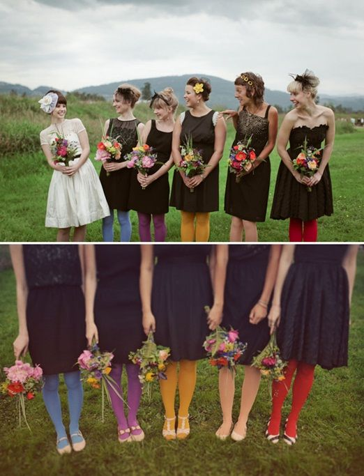 black bridesmaids dresses with multi-coloured tights. Hmmm i would do this maybe with silver dresses