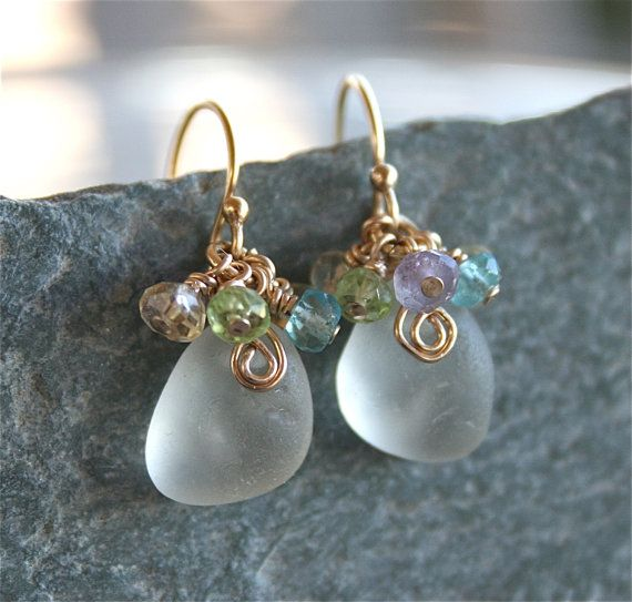 Sea Glass Jewelry White Earrings with by OceanCharmsSeaGlass, $24.00