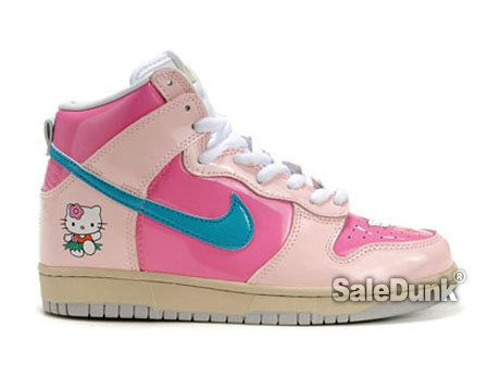 Hello Kitty Nikes Dunk High Shoes For Girls : Cool High Tops Nikes Dunks  Adidas Converse Cartoon Shoes, Cheap For Sale