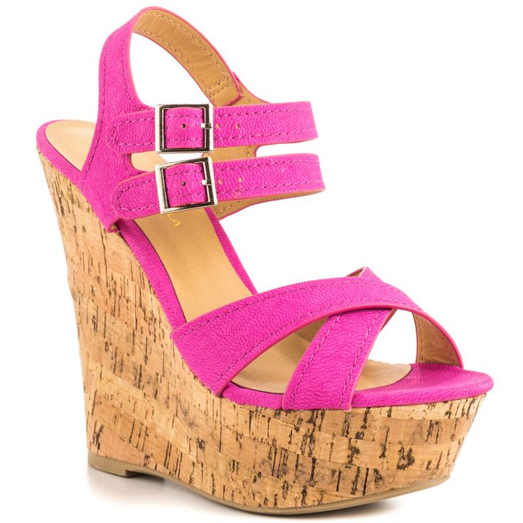 Shoe Republic - Fiat  Price: $55  Fascinate your fashion followers with the Fiat. This perfect summer sandal by Shoe Republic features a pink fabric upper with crossing vamp and adjusting ankle straps. Cork creates the 5 inch wedge and 1 1/2 inch platform.