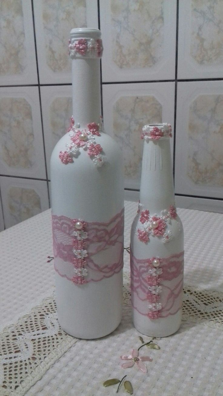 Bottles with flower #decoratedwinebottles