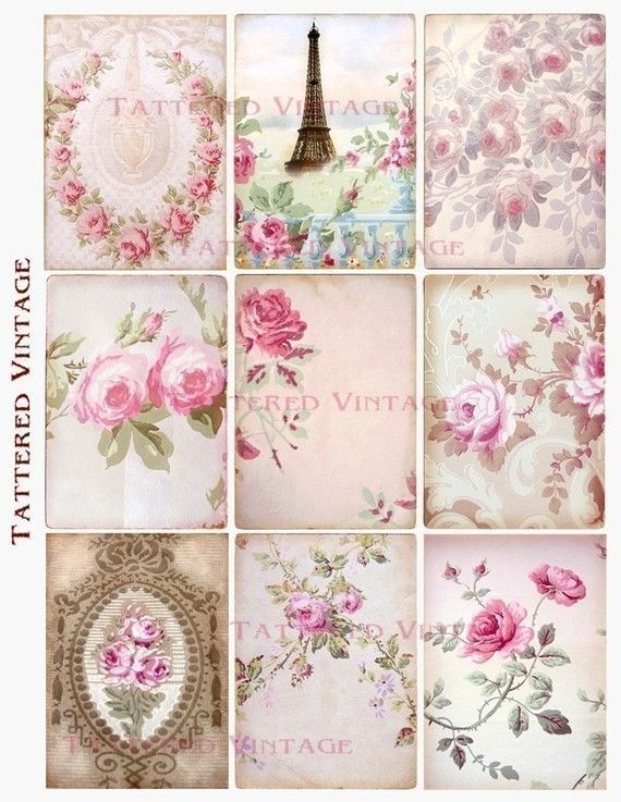 Roses Romance Fragments of Antique Wallpaper Collage 9 ATC Instant Download Collage Sheet Tattered Vintage no.179