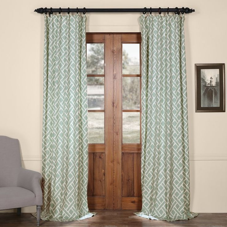 martinique blue 108 in printed cotton curtain panel half price drapes panels u0026 p