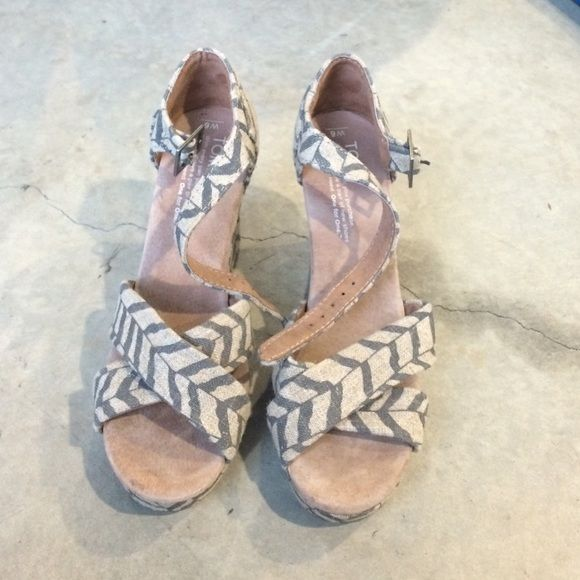 Tom's chevron wedges Worn once • Canvas material •  grey and tan • size 6 TOMS Shoes Wedges