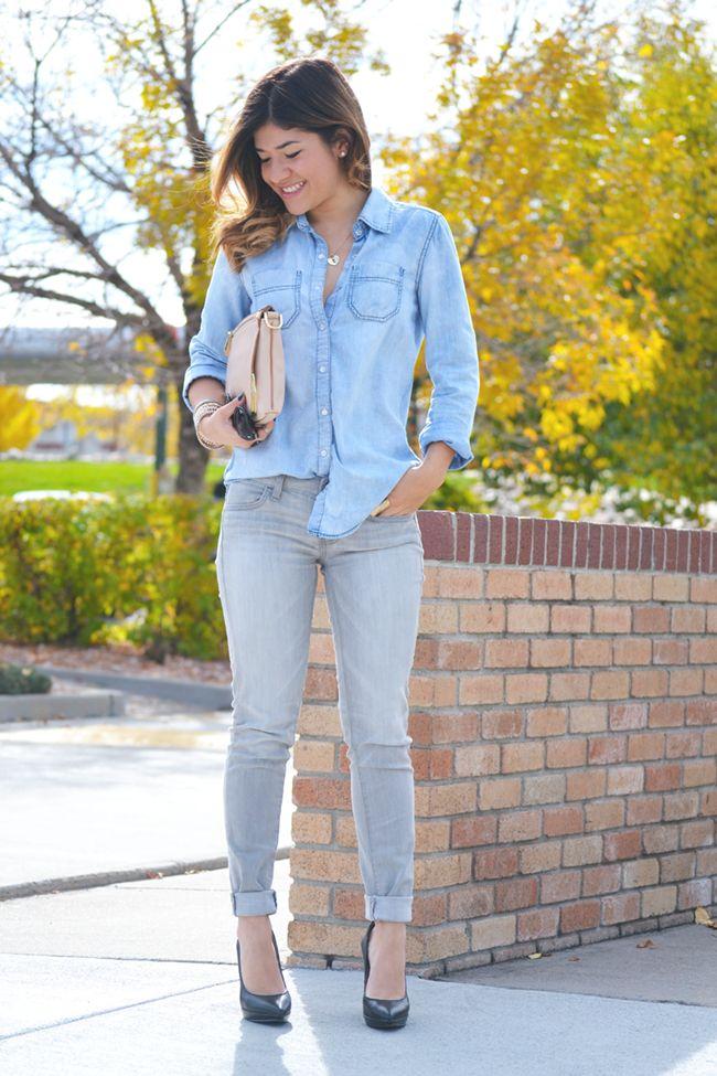 Denim on denim casual outfit idea