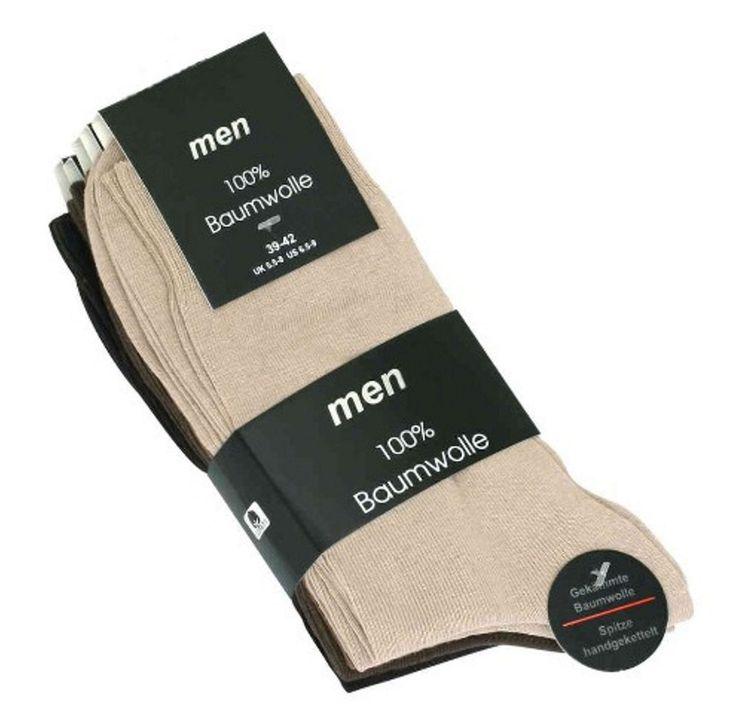 Herren Strümpfe Größe 43-46 5er Pack 100% Baumwolle Brauntöne