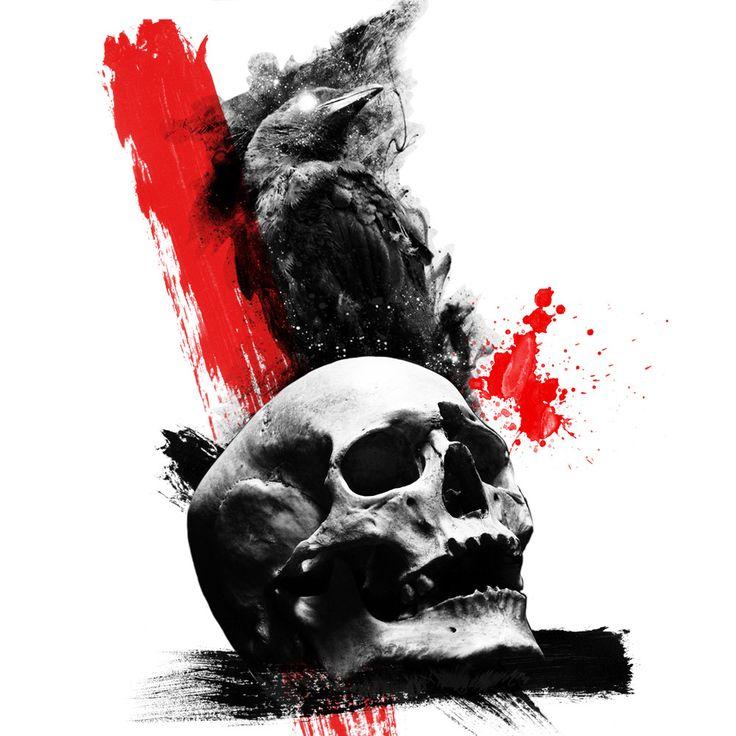 Raven and skull tattoo. Trash Polka Style