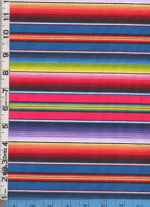 Fabric Elizabeth S Studio Fiesta Serape Stripe Blue