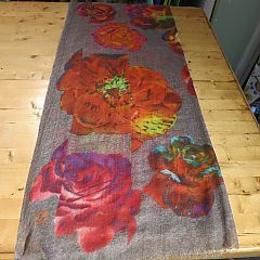 Rose Garden Scarf in Tomato by Fraas Scarves at Dream Weaver. 85% Wool & 15% Silk.  www.dreamweavergifts.ca