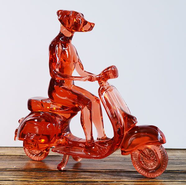 Clear Resin vespa rider by Gillie and Marc