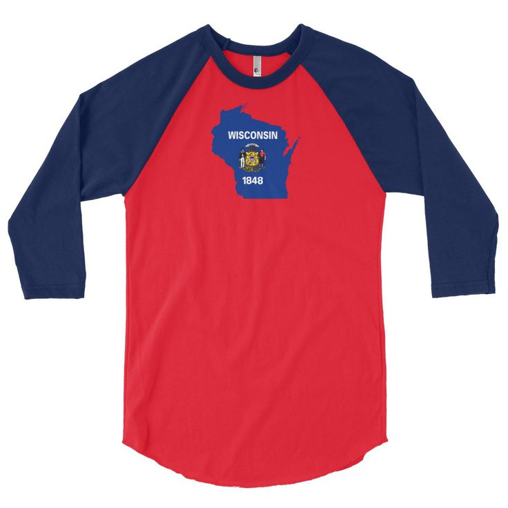 Wisconsin Flag 3/4 Sleeve Raglan Shirt