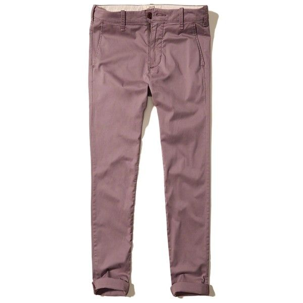 Hollister Super Skinny Chinos (2.895 RUB) ❤ liked on Polyvore featuring men's fashion, men's clothing, men's pants, men's casual pants, purple, mens skinny fit dress pants, mens skinny pants, mens zipper pants, mens chinos pants and mens zip off pants