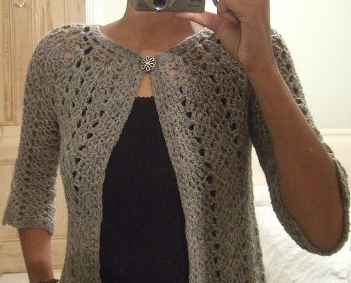 Working on this crochet cardigan for a shop model!