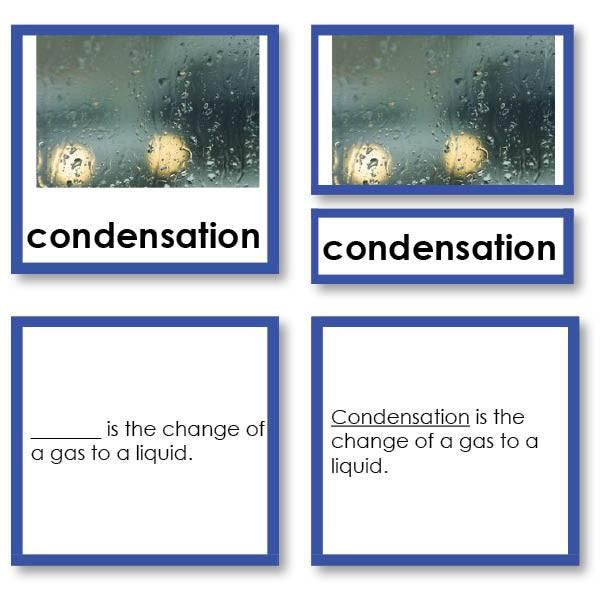Introduction to Basic Chemistry Terms and Concepts for Children. These three part cards define concepts and terms such as phases, solid, liquid, gas, plasma, cr