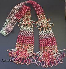 Vintage Stanley Hagler Large Lariat pink glass faceted beaded necklace